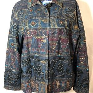 Embroidered jean jacket by Chico's